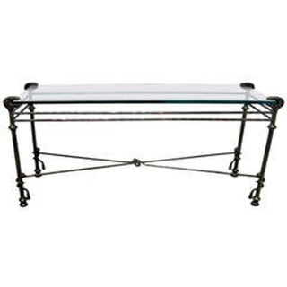 Hammered Steel and Glass Console