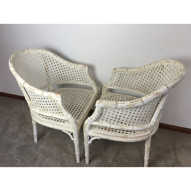 Vintage Faux Bamboo Rattan Chairs - A Pair - Image 5 of 8