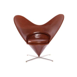 Rare Verner Panton Leather Heart Chair