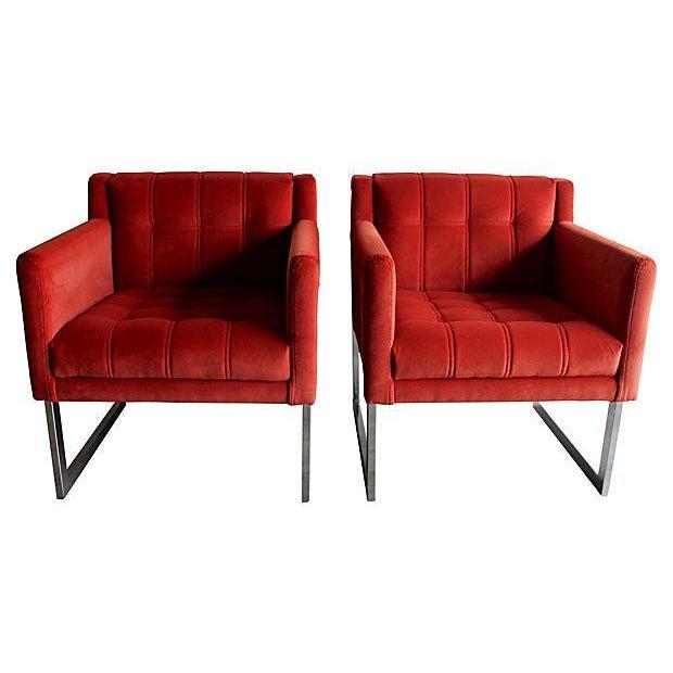 Mid-Century Milo Baughman Style Chairs - Pair - Image 1 of 10
