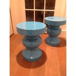 Image of Blue Side/Occasional Tables - Pair