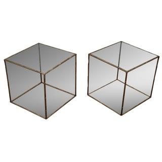 Hollywood Regency Bamboo Gilt Metal Tables -A Pair
