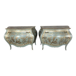Pair of French Chinoiserie Painted Commodes C 1940