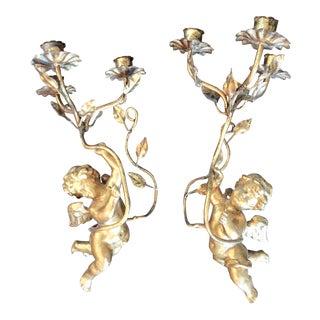 Gold Cherub Putti Candle Sconces - A Pair