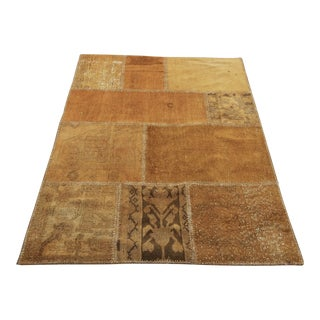 Turkish Vintage Overdyed Patchwork Oushak Rug - 3′8″ × 4′10″