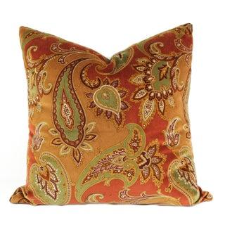 Italian Velvet Paisley Pillows - A Pair