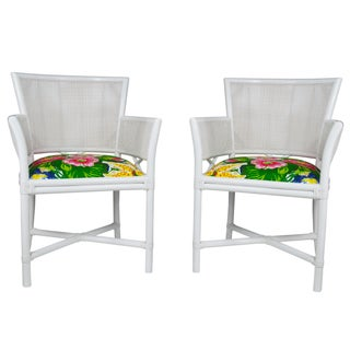 Ficks Reed White Rattan & Cane Armchairs - a Pair