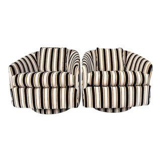 Striped Swivel Chairs - A Pair
