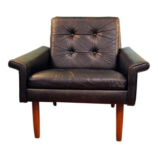 1960s Danish Modern Tufted Black Leather and Teak Easy Chair