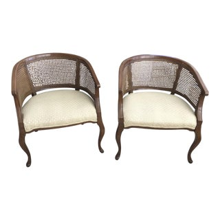 Barrel Cane Work Chairs - A Pair