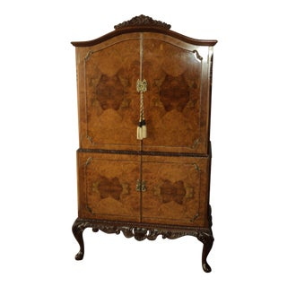 Jenner's Queen Anne Burr Walnut Cocktail Bar Liquor Cabinet