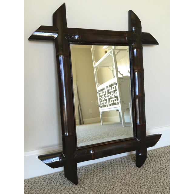 Brown Lacquered Bamboo Mirror - Image 2 of 4