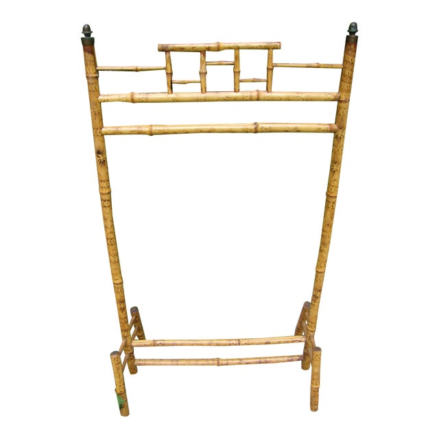 Antique Victorian English Scorched Bamboo Towel / Quilt Rack - Image 1 of 6