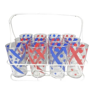 Glass Tumblers & Caddy - 13 Piece Set