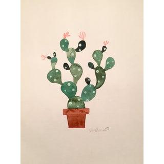 Green Cactus Original Watercolor Painting