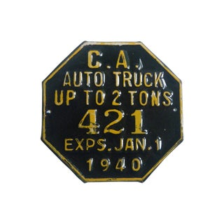 1940s Octagonal Metal License Plate Sign