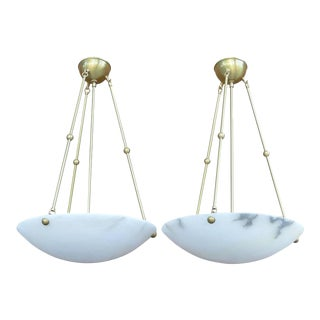 Pair of Dome Alabaster and Brass Chandeliers by Nessen, 20th Century