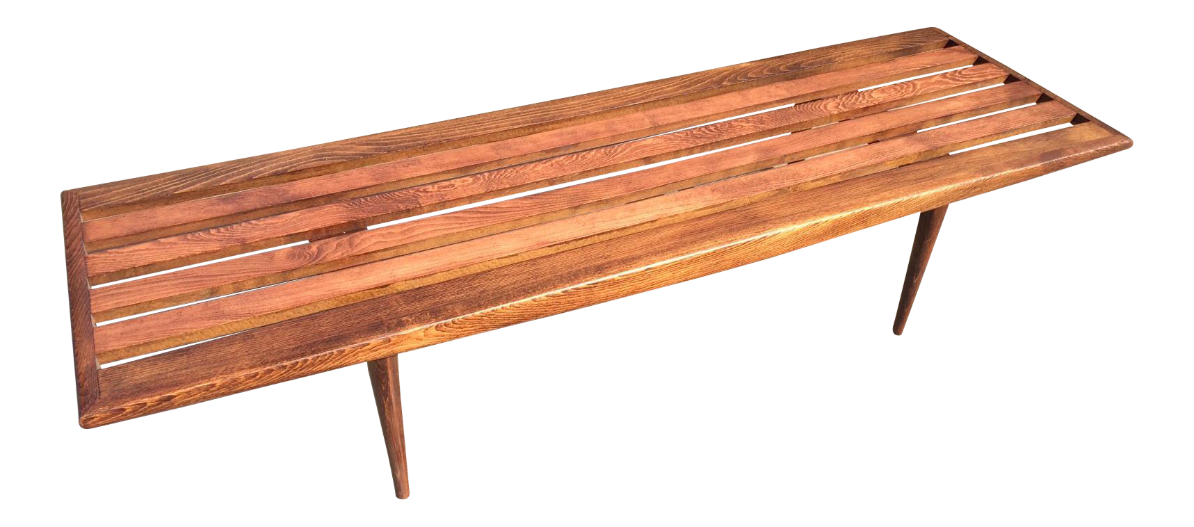 Mid Century Danish Modern Slat Bench Coffee Table