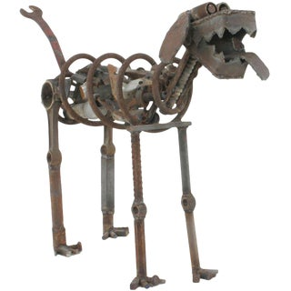 Life Sized Folk Art Welded Steel & Iron Dog Sculpture
