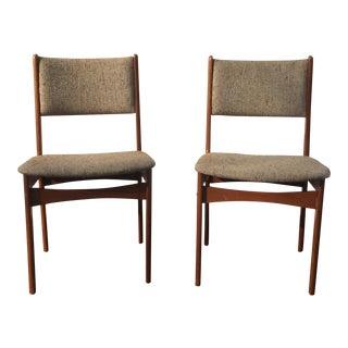 Danish Teak Wood Dining Chairs - A Pair