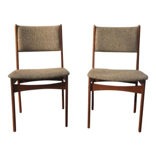 Danish Teak Wood Dining Chairs - A Pair