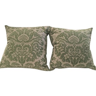 "Fortuny ""DeMedici"" Green & White Pillows - A Pair"