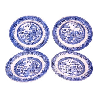 Antique Blue Willow Transferware Bowls - S/4