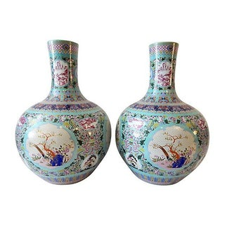 Famille Rose Onion-Shape Vases - Set of 2