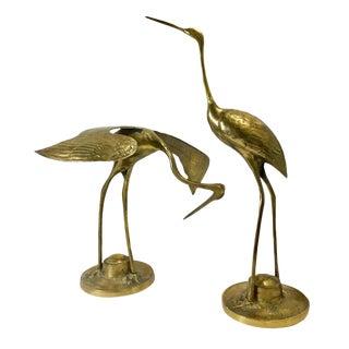 Vintage Brass Egret Figures - A Pair