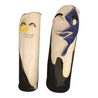 Ceramic Hand Painted Face Vases - A Pair