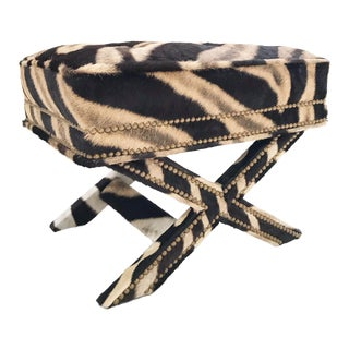 Forsyth Vintage Billy Baldwin Style X Zebra Hide Bench Ottoman