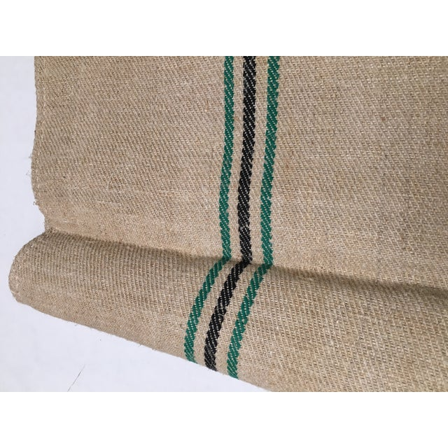 Vintage Green Stripe European Grain Sack - Image 6 of 7