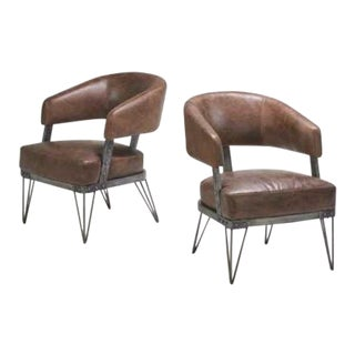 Industrial Style Club Chairs - a Pair