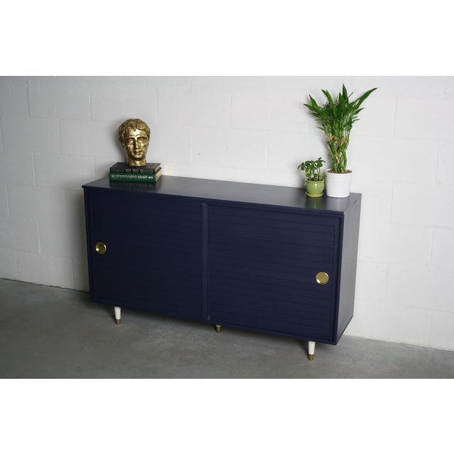 1960's Navy Cabinet W/ White & Gold Tapered Legs - Image 3 of 11