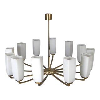Chandelier with Twelve Arms in Brass & Opaline by Kaiser Leuchten, 1960s