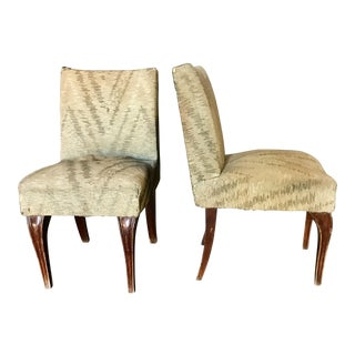 Italian 40s Walnut Slipper Chairs - A Pair