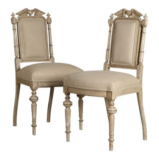 Set of Two Antique French Napoleon III Period Painted Chairs circa 1860