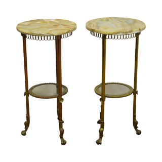 Antique 19th Century Pair of Brass & Onyx Pedestal Stands
