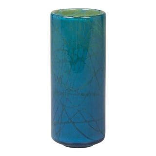 A lovely circular cylinder vase of a hand blown Mdina glass from Malta c. 1975 with perpendicular sides that showcase the astounding turquoise color