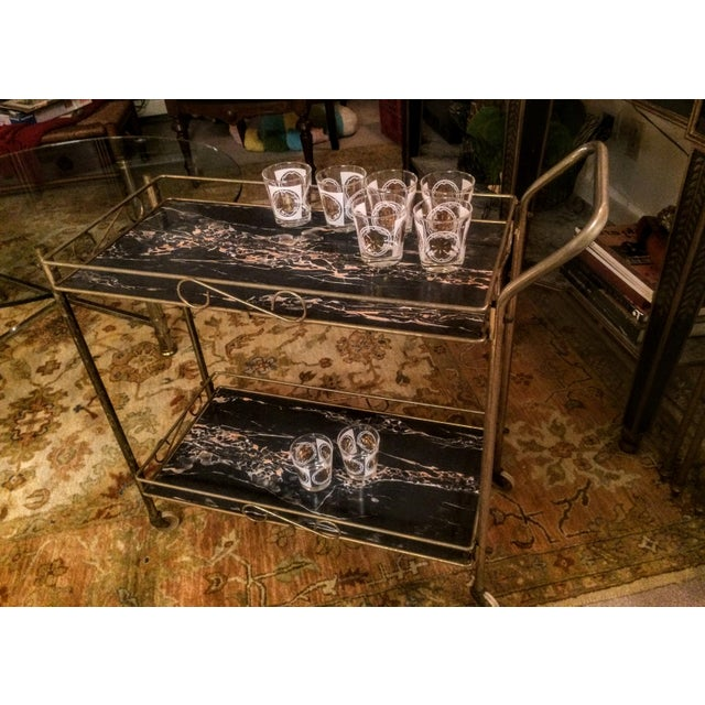 Mid-Century Modern Brass & Marble Rolling Bar Cart - Image 6 of 11