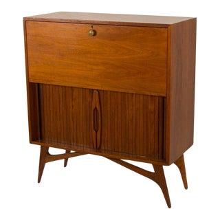 Mid-Century Modern Wood Veneer Bar Cabinet, Circa 1960