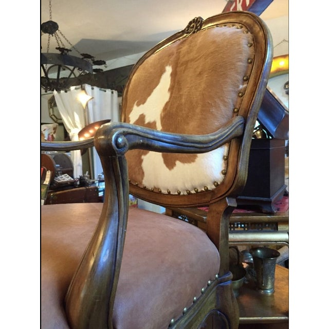 1930s Re-Upholstered Cowhide Leather Chairs - Image 6 of 11