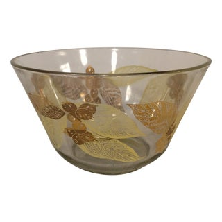 Mid-Century Bowl with Gold Leaves & Berries
