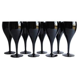Vintage Black Wine Glasses, Set of 8