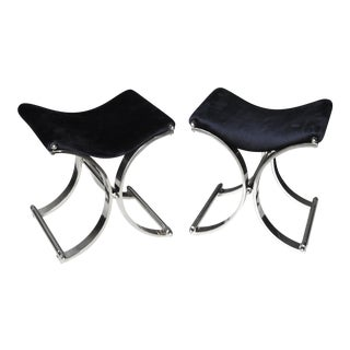 Karl Springer Style Chrome 'X' Benches - A Pair