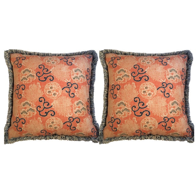 Queen Throw Pillows : Quadrille Pillows with Samuel & Sons Trim - Pair Chairish