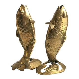 Brass Koi Fish Bookends - Pair