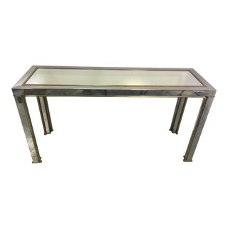 Stainless Steel and Brass Console Table
