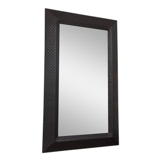 Italian Modern Woven Leather Mirror