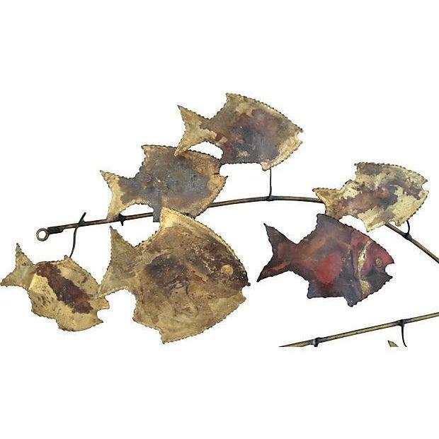 Metal Wall Art Sculpture - 16 Swimming Fish - Image 2 of 4